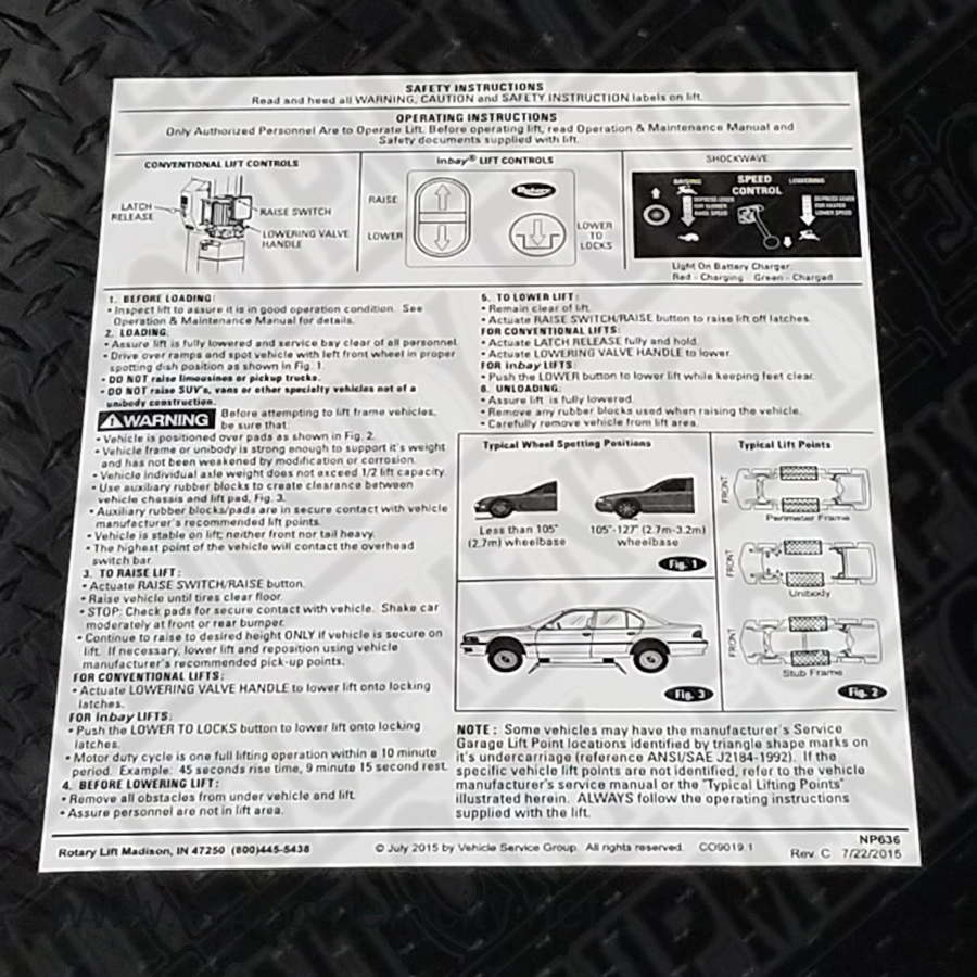 Rotary NP636 OPERATING INSTRUCTION DECAL - Included in FA5203KIT