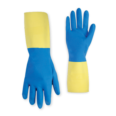 CLC 2333 Medium  Blue Neoprene over Yellow Latex Unsupported Glove - M