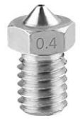 ExcelFu M6 0.4mm Stainless Steel Nozzle Head for 1.75mm Filament E3D V5-V6 3D Printer