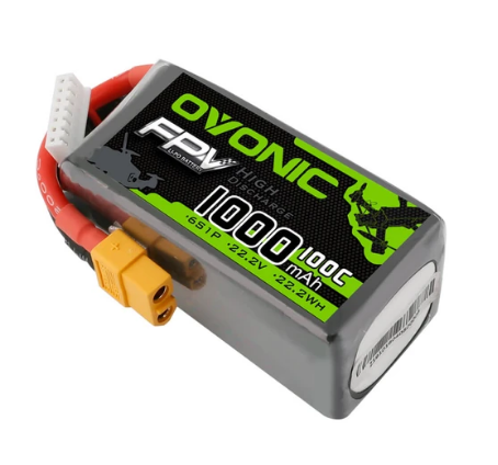 OVONIC 22.2V 100C 1000mAh 6S LiPo Battery Pack with XT60 Plug