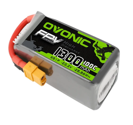 OVONIC 22.2V 100C 6S 1300mAh LiPo Battery Pack with XT60 Plug