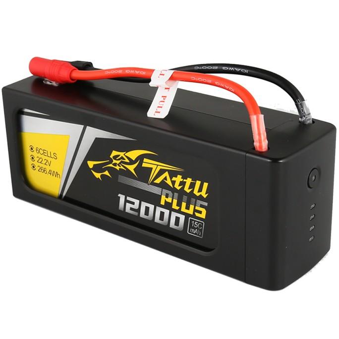 Tattu Plus 12000mAh 22.2V 15C 6S1P Lipo Smart Battery Pack with AS150 + XT150 plug | TA-PLUS-15C-12000-6S1P-AS150