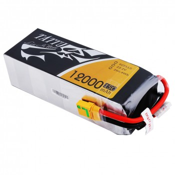 Tattu 12000mAh 6S1P 15C Lipo Battery Pack with XT90 plug   TA-15C-12000-6S1P-XT90