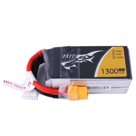 Tattu 1300mAh 4S 75C lipo battery pack with XT60 plug | TA-75C-1300-4S1P-XT60