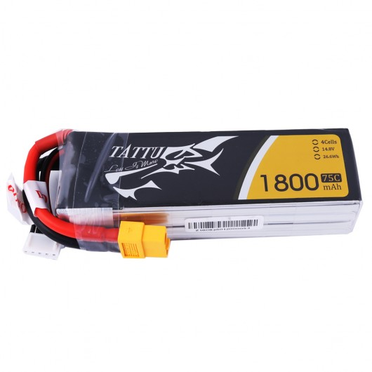 Tattu 1800mAh 75C 4S1P lipo battery pack with XT60 plug  | TA-75C-1800-4S1P-XT60