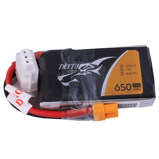 Tattu 650mAh 2S1P 75C 7.4V Lipo Battery Pack with XT30 plug | TA-75C-650-2S1P-XT30