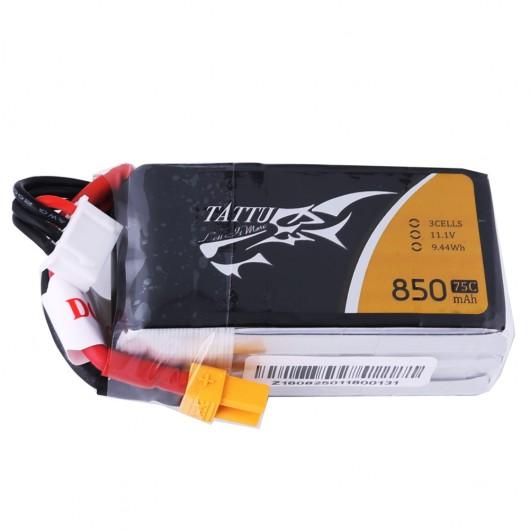 Tattu 850mAh 11.1V 75C 3S1P Lipo Battery Pack with XT60 plug | TA-75C-850-3S1P-XT60