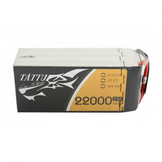 Tattu 22000mAh 22.2V 25C 6S1P Lipo Battery Pack with AS150 +XT150 plug | TA-25C-22000-6S1P-AS150