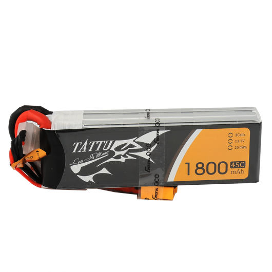Tattu 1800mAh 45C 3S1P Lipo Battery Pack with XT60 plug | TA-45C-1800-3S1P-XT60
