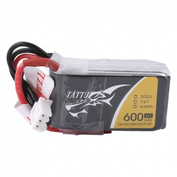 Tattu 600mAh 7.4V 45C 2S1P Lipo Battery Pack with JST-SYP Plug | TA-45C-600-2S1P-JST