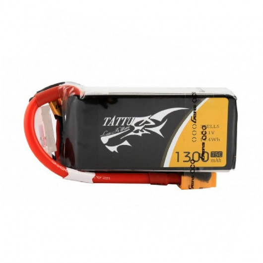 Tattu 1300mAh 3S 75C lipo battery pack with XT60 plug | TA-75C-1300-3S1P-XT60