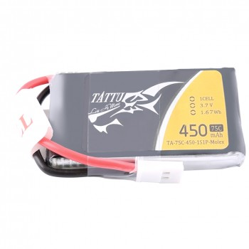 Tattu 75C 1S1P 3.7 v 450mah Lipo Battery Pack with Molex Plug | TA-75C-450-1S1P-Molex