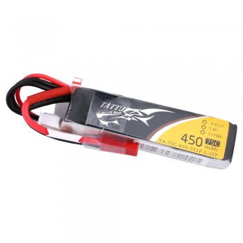 Tattu 450mAh 7.4V 75C 2S1P Lipo Battery Pack with JST-SYP plug - Long Pack | TA-75C-450-2S1P-L-JST