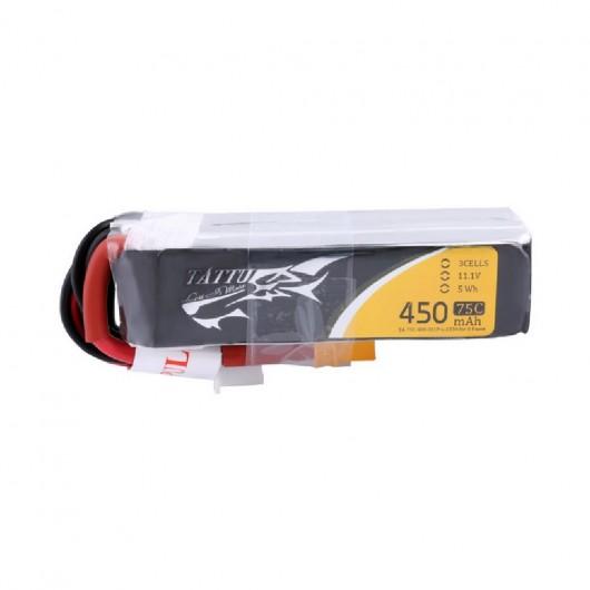 Tattu 450mAh 11.1V 75C 3S1P Lipo Battery Pack with XT30 plug - Long Size for H Frame | TA-75C-450-3S1P-L-XT30