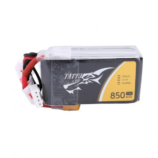 Tattu 850mAh 11.1V 75C 3S1P Lipo Battery Pack with XT30 Plug | TA-75C-850-3S1P-XT30