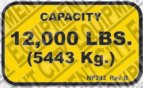 Rotary NP243 12,000# CAPACITY NAMEPLATE - Included in FA5203KIT