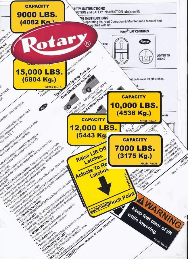 Rotary FA5203KIT 2 POST DECAL KIT