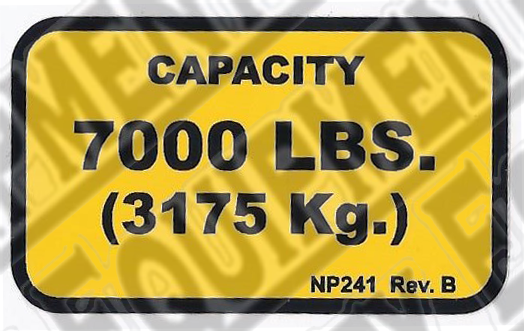 Rotary NP241 7,000# CAPACITY NAMEPLATE - Included in FA5203KIT