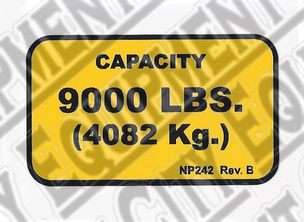 Rotary NP242 9,000# CAPACITY NAMEPLATE - Included in FA5203KIT