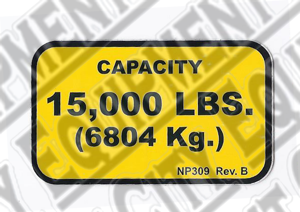 Rotary NP309 15,000  CAPACITY NAMEPLATE - Included in FA5203KIT