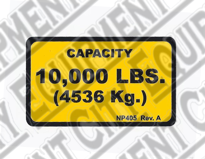 Rotary NP405 10,000  CAPACITY NAMEPLATE - Included in FA5203KIT