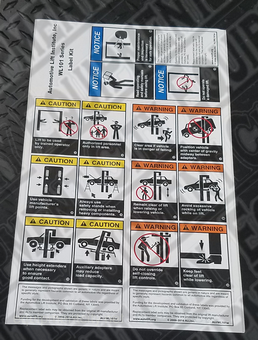 Rotary FA572 ALI WARNING LABELSET(NP372/3/4) - Included in FA5203KIT