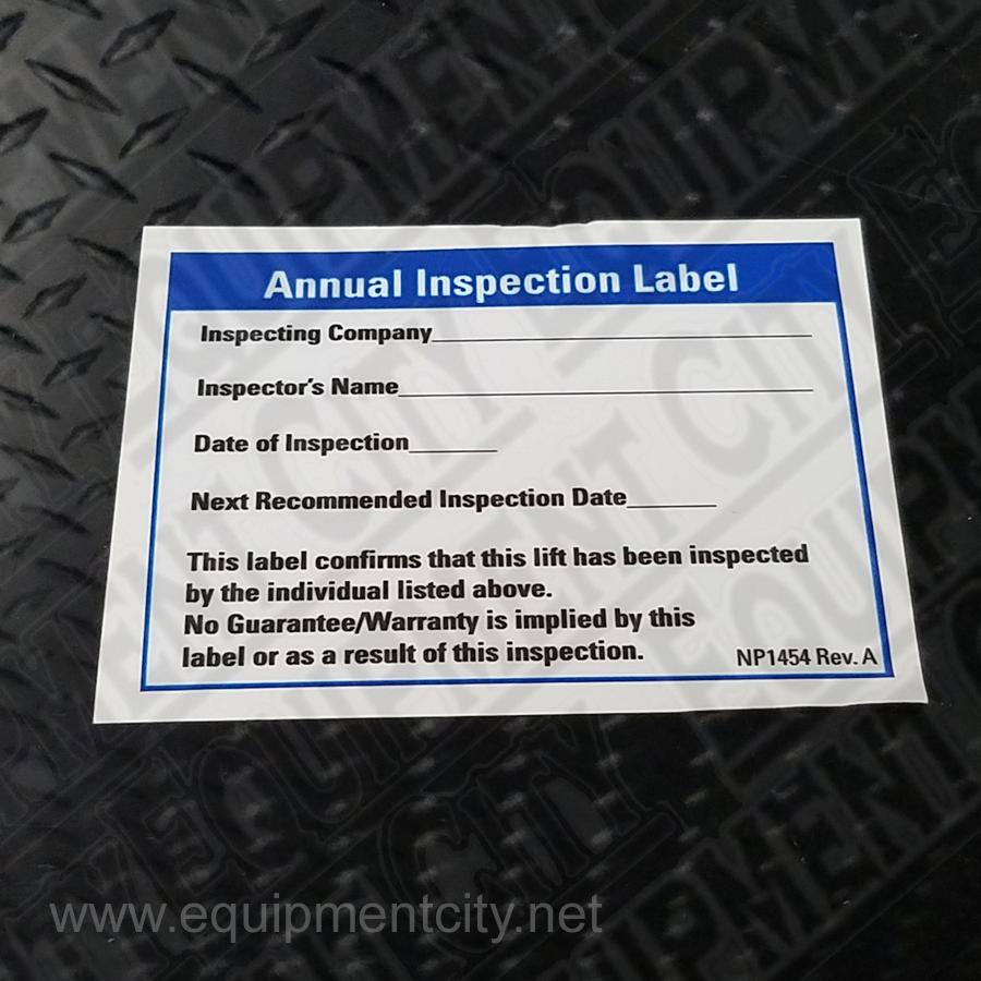 Rotary NP1454 Inspection Decal