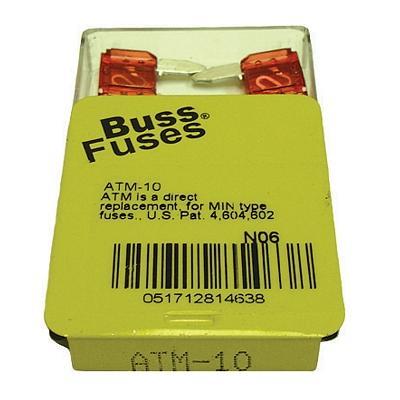 FU10BXM TMR MINI 10 AMP BLADE FUSE (100 PER BOX - 20 BOXES OF 5)