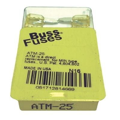 FU25BXM TMR MINI 25 AMP BLADE FUSE (100 PER BOX - 20 BOXES OF 5)