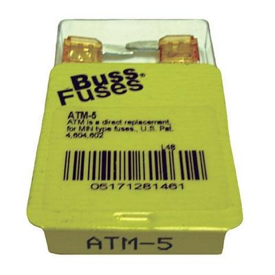 FU5BXM TMR MINI 5 AMP BLADE FUSE (100 PER BOX - 20 BOXES OF 5)