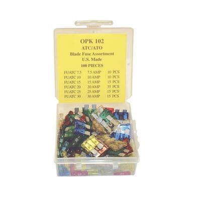 OPK102 TMR ATC/ATO BLADE FUSE ASSORTMENT U.S. MADE (100 PCS)