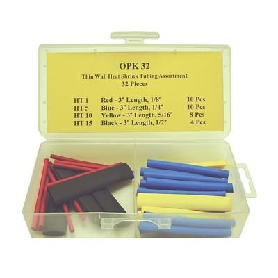 OPK32 TMR HEAT SHRINK TUBING THIN WALL ASSORTMENT (32 PCS)