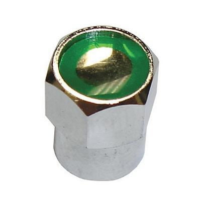 TI104-100 TMR CHROME CAP WITH GREEN ID (O-RING INSIDE CAP) (100